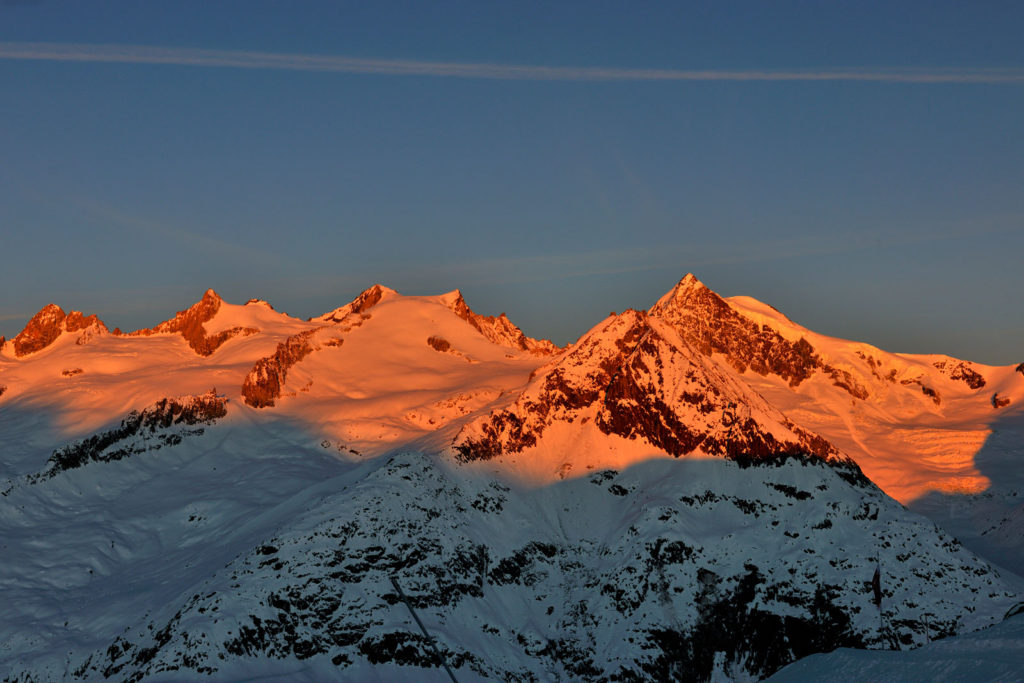 Morgenrot on the mountains in Switzerland