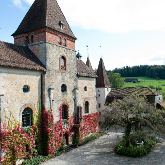 knitting retreat on the ground of historic castle Münchenwiler in Switzerland